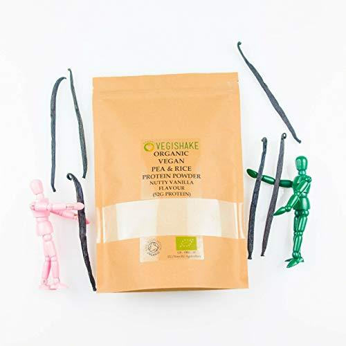 Organic Pea & Rice Protein Powder Nutty Vanilla Flavour 52g Plant Protein Amino ECAA BCAA Complete Vegan (1kg Powder)