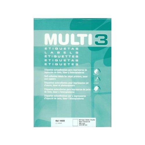 Etiquetas Adhesivas Multi3 Para Inkjet Laser Y Fotocopiadoras Cantos Rectos 500 Hojas 210 X 297mm