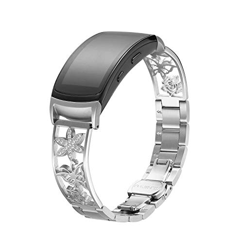 Compatible with Gear Fit2/Fit2 Pro Band,Replacement Stainless Steel Watch Strap for Compatible with Samsung Gear Fit2 SM-360/Fit2 Pro SM-R365. (18mm, Silver)