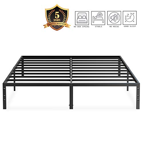 Review Of JEZWX Platform Bed Frame Queen Size Metal Heavy Duty 14 Inch Beds Frames With Storage No B...