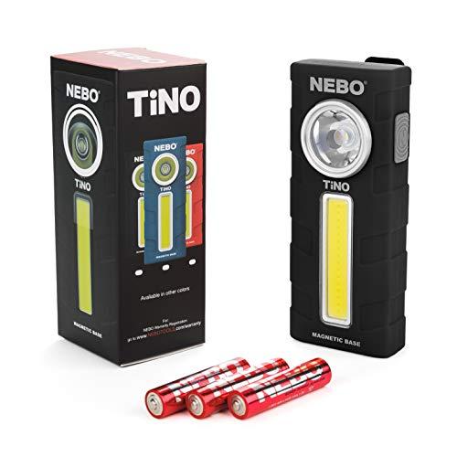 300-Lumen LED Work Light Flashlight: Durable Pocket Sized Magnetic Flashlight Featuring 2 Light Modes, A Pocket Clip, Hanging Hook and Magnetic Base - NEBO TINO 6809 – Black