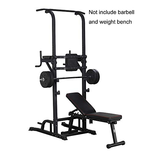 ZENOVA Power Tower Pull Up Tower Adjustable Height, Home Gym Equipment Dip Stand Station for Whole Body Workout with Barbell Rack