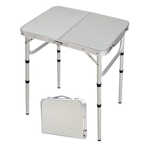 Varbucamp 24''x16'' Folding Camping Table,Aluminum Ultralight Height Adjustable Camp Table,Small Folding Table for Outdoor Camp Picnic,3 Heights