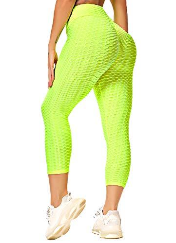 INSTINNCT Capris - Mallas deportivas para mujer, corte ajustado, cintura alta, largas, 3/4, con control abdominal amarillo neón S