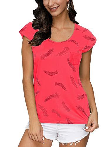 Fleasee Damen T-Shirt Kurzarm Bluse Locker Ärmelloses Top Lässig Sommer Tee mit Allover-Sternen und Anker Druck-XL-Wassermelone Rot-feter
