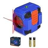 Livella Laser 15M, SORAKO Laser a Croce Autolivellante, Livella Laser Autolivellante, Rosso Laser Classe II, per la Decorazione Della Casa Appendere Quadro (2x Batteria Inclusa)