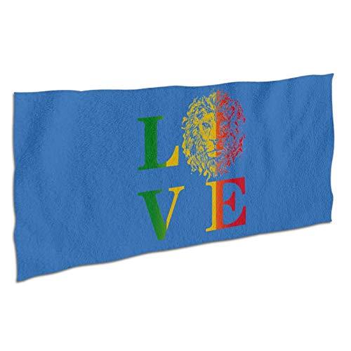WDS6DF Rasta Lion Jamaican Reggae Love - Toalla de baño de gran tamaño, color blanco, absorbente y de secado rápido