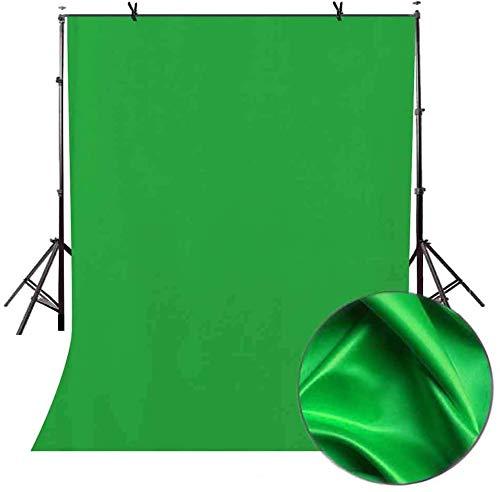 FayTun Greenscreen, 1,5 x 2m Foto Hintergrund Faltbare Greenscreen- Stoff 100% Reine Baumwolle Musselin -für Fotografie Video, Modefotografie, Videoaufnahme, Hintergrundsystem-GRÜN