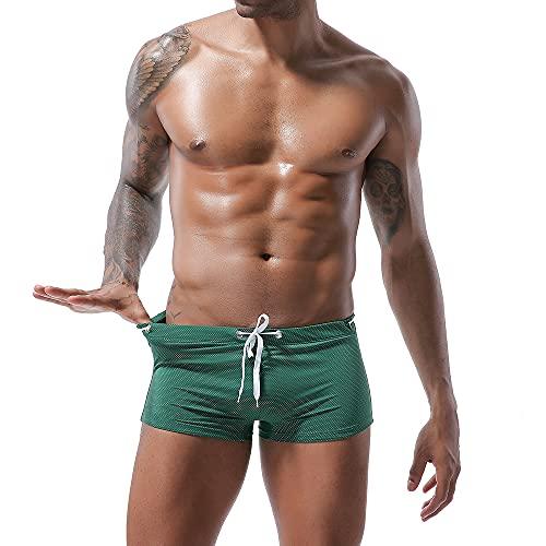XDSP Costume da Bagno Boxer da Nuoto Uomo Coulisse Pantaloncini Calzoncini da Bagno Elastico a Vita Bassa Boxershorts Spiaggia Mare Piscina (Green, XL)