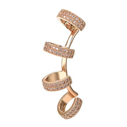 Yoursfs Clip on Piercing Earrings for Women Crystals Ear Cuffs Hoop Climber Earrings Hypoallergenic Earring… (Climber earrings)