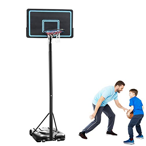 Juhuitong Canasta de baloncesto para interiores y exteriores, para niños y adultos, familias, 2,3-3,05 m, altura ajustable, portátil, con tablero, 110 x 70 cm
