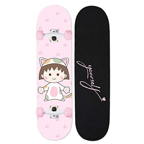 Z-Meng Zhong Skateboard Monopatín Profesional De 31 Pulgadas, Versión Completa, Adecuado para Principiantes, Niñas, Niños, Monopatín para Niños De 6 A 12 Años (Bolas Pequeñas)