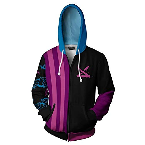 Shuihua - Kapuzenpullover Jinx Cosplay Hoodie, Anime Game 3D Printing Hoodys Zipper-Jacke (Color : Purple, Size : XL)