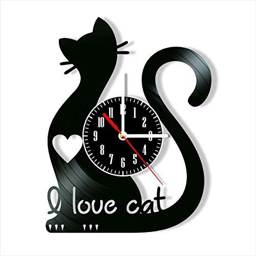 ZRZDGL'ART Reloj de Pared con Disco de Vinilo I Love Cat, decoración única para el hogar, Regalo Hecho a Mano para Hombres, Mujeres, Amigos, niños