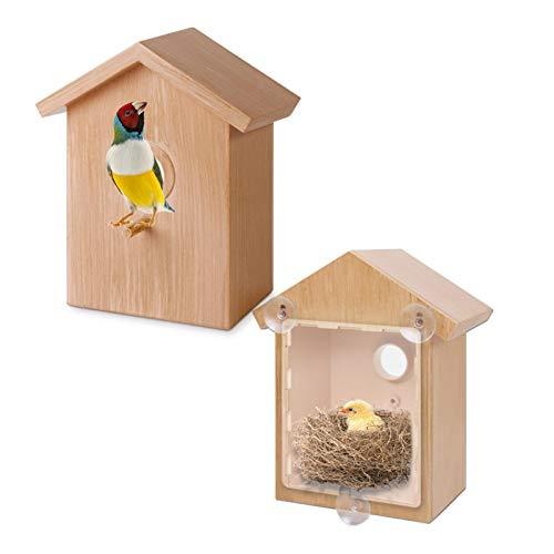 arthomer Vogelhaus aus Holz, Nistkasten mit Saugnapf, Vogelhaus aus Holz für Vögel, Haus Nido, Vogelliebhaber, Geburtstag