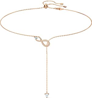 SWAROVSKI Women's Infinity Y Necklace, White, Rose-gold tone plated