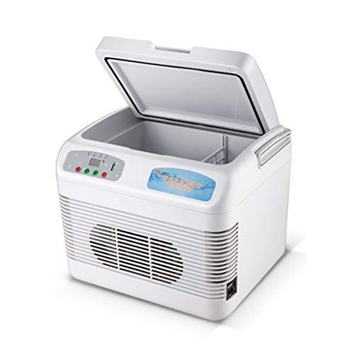Tinbg Mini-koelkast, 15 liter, 12 volt, DC 220 volt, AC koelkast, kleine huishoudelijke microkoelkast, auto-koelkast, met dubbel gebruiksdoel