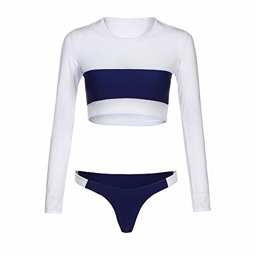 BCDshop Women Bikini Set Push-up Padded Bra Splice Bathing Swim Suit Swimwear Long Sleeve Crop Top (S(Cup:30A/30B/32AA/32A/32B) Wine