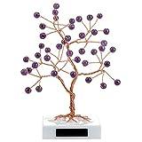 Jovivi - Árbol de la vida, piedra natural, base de mármol DIY Reiki, amuleto de la felicidad, prosperidad, perlas, piedra preciosa, Feng Shui cristal meditación decoración, piedra natural, morado