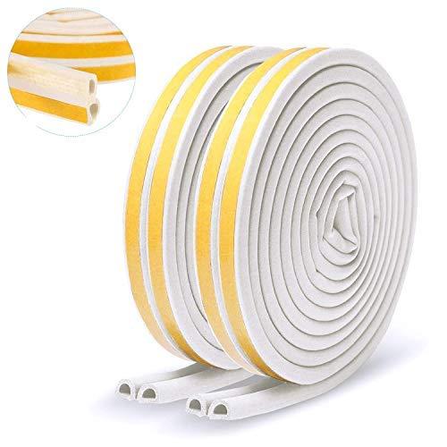 2 Rollos la cinta de sellado de puertas,tira anticolisión autoadhesiva de goma tipo D,se puede utilizar para puertas y ventanas para evitar el viento frío,el aislamiento acústico,el sellado,el