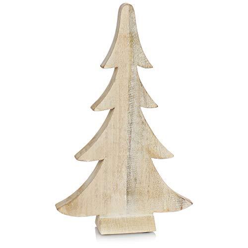 com-four® Dekorativer Aufsteller für Weihnachten - Tannenbaum aus geweißtem Holz - zeitlos schöne Weihnachtsdeko (01 Stück Tanne 42cm weiß)