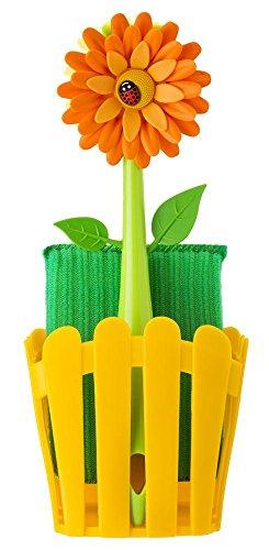 VIGAR Flower Power Set Fregador con Cepillo y Estropajo de Color Amarillo, Multicolore, 11 x 6.5 x 25 cm