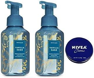 Bath and Body Works 2 Pack Vanilla Sage Gentle Foaming Hand Soap 8.75 Oz. Travel Size Body Cream 1 Oz.