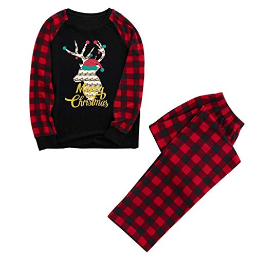 DEESEE(TM)_Home Christmas Family Pajamas Matching Sets, Xmas Family Clothes - Tops and Pants, Festival Printing Style Jumpsuits (Men,Small)