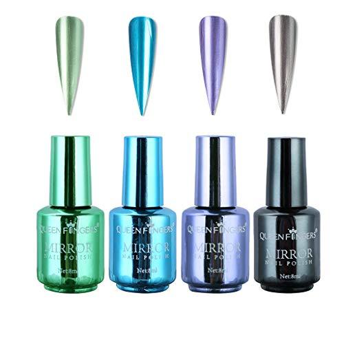 Serria® 4 Stück Überzug Metallic Nagellack Set Schnell trocknend Magic Semi-Mirror Effekt Nagellack für Naturnägel, künstliche Nägel, Acrylnägel, Nagelspitzen