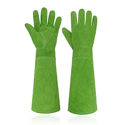HANDLANDY Ladies Leather Gardening Gloves, Thorn Proof Long Gauntlet Heavy Duty Garden Gloves, Elbow Length Women Rose Pruning Gloves (Medium, Green)