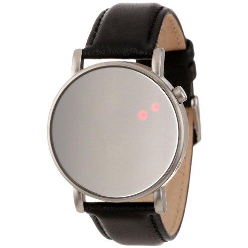 Binary The One OR113R1 - Reloj digital unisex de cuarzo con correa de cuero negro, sumergible a 30 metros