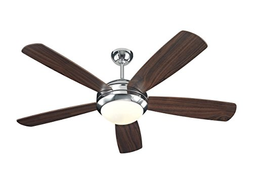 Monte Carlo 5DI52PND Discus 52' Ceiling Fan with Light and Pull Chain, 5 Blades, Polished Nickel