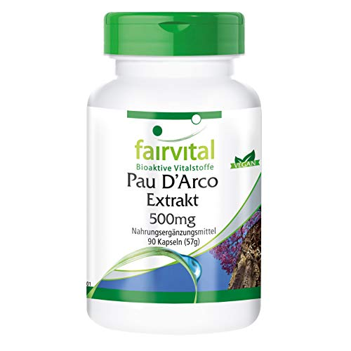Pau d'Arco 500mg - Lapacho - Vegetariano - 90 Cápsulas - Calidad Alemana
