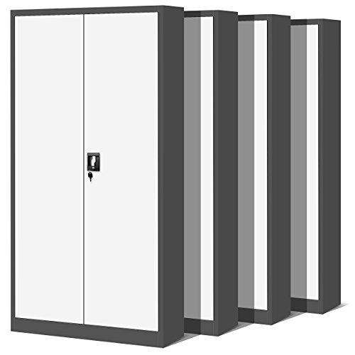 Domator24 Set Oficina C001 H Armario de Archivio Metálico 4 Estantes Recubrimiento en Polvo Chapa de Acero 195 cm x 90 cm x 40 cm (Antracita/Blanco)