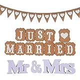 FGen Guirnalda Just Married Banderines, Banderines Boda, Letras Boda Mr y Mrs Letras Madera Blanca Decoración, Corazón Guirnalda Bunting, Fiesta De La Boda Bunting Banner (3pcs)