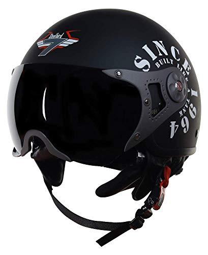 Steelbird SB-27 7Wings Tank Open Face Graphic Helmet (Large 600 MM, Matt Black / Silver Helmet Fitted with Clear Visor and Extra Smoke Visor Aerodynamics Off-Roading Open Face Adventure Helmet For Heavy Machine Bikes)