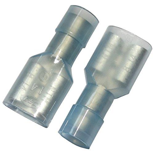 Aerzetix: 10 x Kabelschuhe Kabelschuh ( Klemme ) weiblich flach 6.3mm 0.8mm 2mm2 Blau isoliert