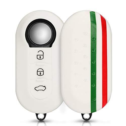 kwmobile Cover chiave compatibile con Fiat Lancia con 3 tasti pieghevole - Guscio protettivo coprichiave morbido silicone TPU - Bandiera italiana verde/rosso/bianco