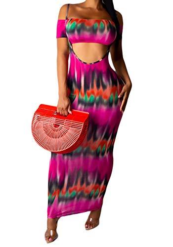 Womens Tie Dye Stripe Print Off Shoulder Crop Top Sleeveless Suspender Skirt 2 Piece Outfits Long Maxi Dress Set Rose