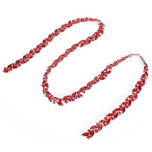 Wosune Glasdiamantkette, hochauflösende Diamantkette, farbige Glasur für Armbänder Brautkleider Kopfbedeckung Kleidung Halsketten Möbel(Big red)