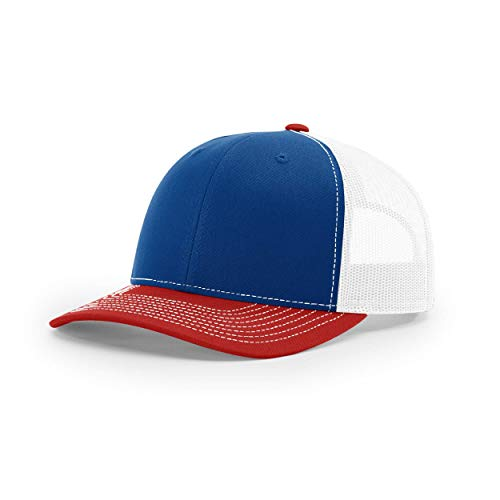Richardson Unisex 112 Trucker Adjustable Snapback Baseball Cap, Tri Royal/White/Red, One Size Fits Most