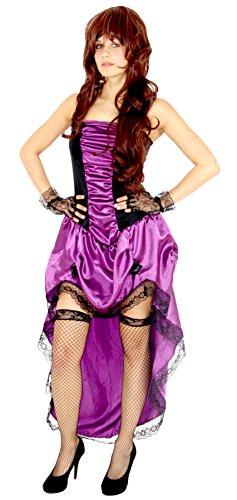 Foxxeo lila sexy Burlesque Kostüm für Damen Kleid mit Kleid zu Fasching und Karneval Größe XXL