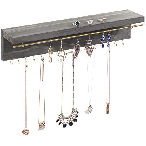 MyGift Modern Gray Wood & Gold Metal Wall Mounted Jewelry Display Rack with Hanging Bar, Hooks & Shelf