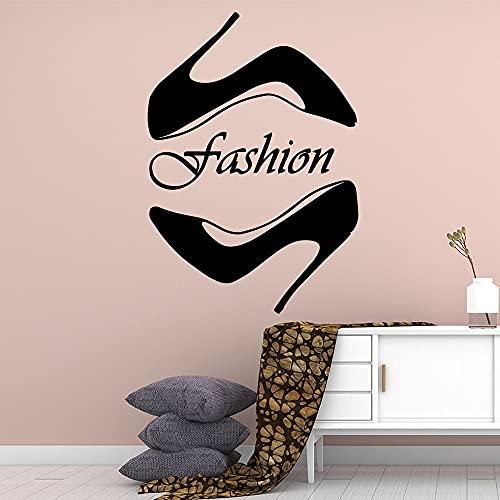 Estilo de moda Mujer Chica Tacones altos Zapatos de dama Tienda de estilete Vinilo Etiqueta de la pared Calcomanía Dormitorio Sala de estar Tienda Estudio Decoración para el hogar Mural