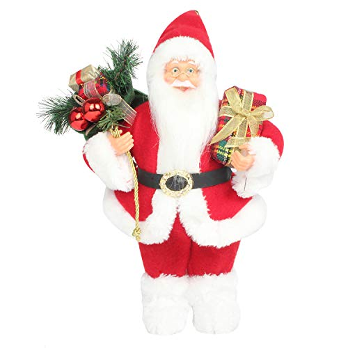 Costyleen Christmas Santa Claus Figurine Decoration Medium Size Ornament Enjoyable Gift Doll Toy Table Decor Festival Present - Standing 14'' Red White