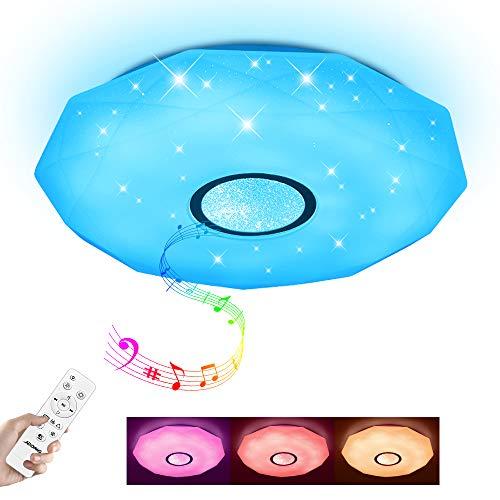 Led Deckenleuchte mit Bluetooth Lautsprecher und Fernbedienung 24W Farbwechsel Sternenhimmel,dimmbar,IP44 Wasserfest für Badzimmer Schlafzimmer Kinderzimmer Wohnzimmer