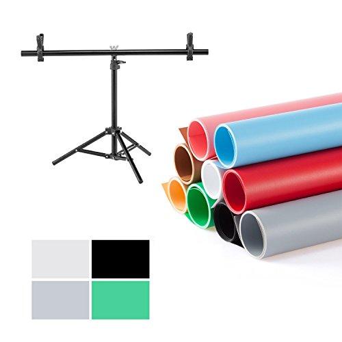 Meking撮影用 PVC 背景布 バックペーパー 68cm x130cm 4色セット(ホワイト、グレー、グリーン、ブラック)+ ...