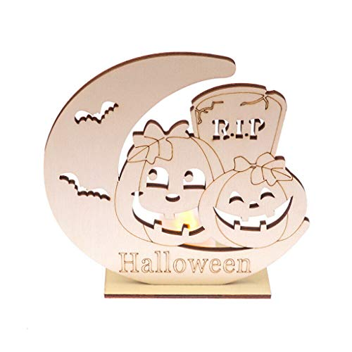 Halloween Wooden Decorations Hollow Pumpkin Haunted House Pattern Pendant Ornaments with Flameless LED Tea Light Candles Bar Restaurant Home Halloween Indoor Decor Best Gift