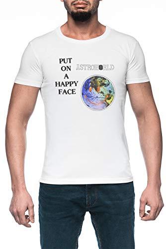 Astroworld Put On A Happy Face Logo Hombre Blanco Camiseta Manga Corta Men's White T-Shirt