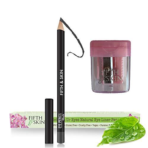 Fifth & Skin Better'n Ur Eyes Eyeliner Pencil (BLACK) PLUS FREE SHARPENER! – NATURAL - Hypoallergenic - Sensitive Eyes - Gluten Free - Cruelty Free - Paraben Free - Smooth Application